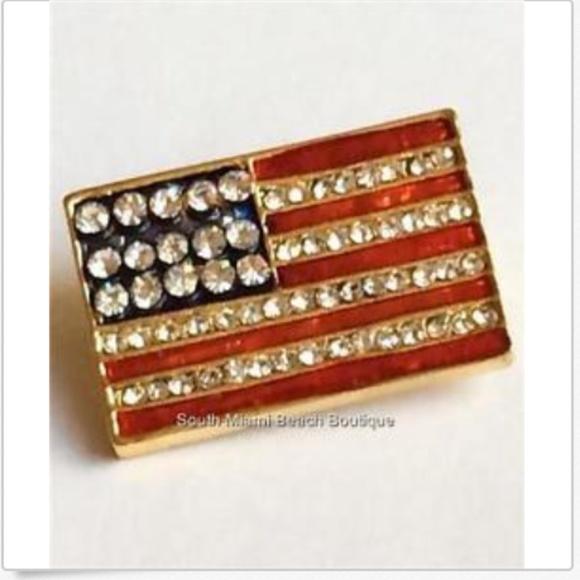 Genuine Crystal Rhinestone America USA Flag Fashion Costume Jewelry Pin Brooch